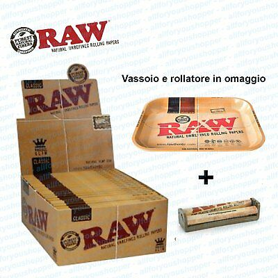 Raw Cartine Slim Kingsize slim da 50 bloccheti vassoio e rollatore in omaggio
