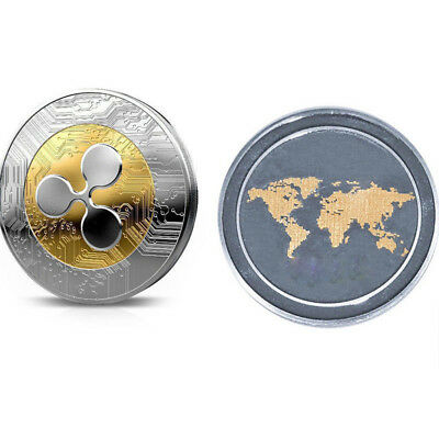 Golden Silver Ripple Commemorative Round Collectors Coin XRP Coin UK