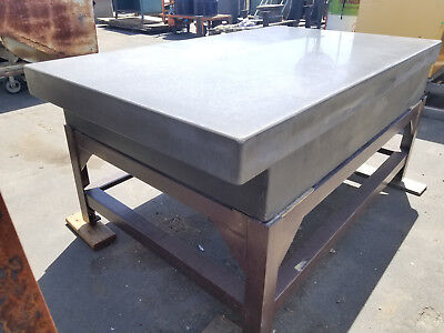 """76"""" x 46"""" x 12-1/4"""" Thick Black Granite Surface Plate – 2 Ledge – w/ Table Stand"""