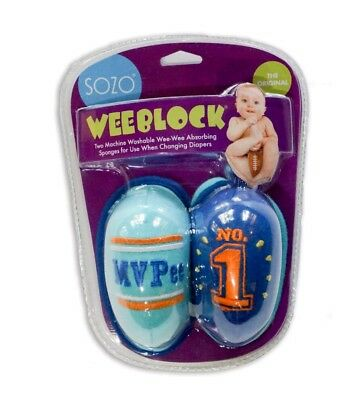 Sozo Weeblock MVPEE No 1 Blue Baby Boy Infant Washable Wee-Wee 2 Pack Set