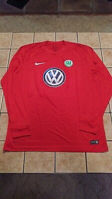Nike VFL Wolfsburg Goalkeeper Shirt 16/17 Replica Blank Jersey Men's Red sz M