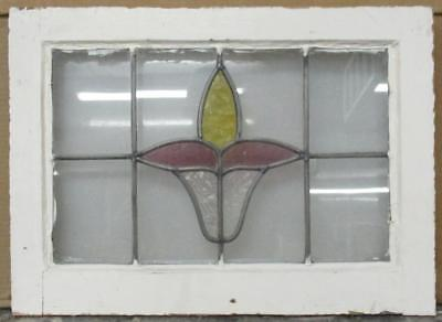 "OLD ENGLISH LEADED STAINED GLASS WINDOW Great Floral 20.25"" x 14.75"""