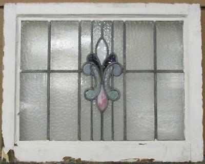 "MID SIZED OLD ENGLISH LEADED STAINED GLASS WINDOW Streaky Abstr. 24.75"" x 19.75"""