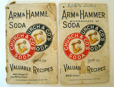 Antique 1909 & 1915 Arm & Hammer Soda Books of Valuable Recipes with Calendars