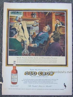 1955 Mark Twain Old Crow Bourbon Life Magazine Color Advertisement