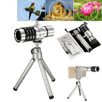 12x Optical Zoom Telescope Camera Lens Kit WIth Tripod For Cell Phone Smartphone