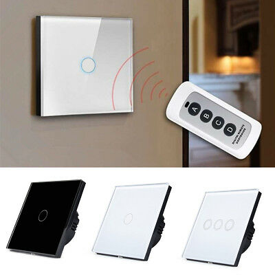 1Way 1/2/3 Gang Crystal Glass Panel Smart Touch Wall Remote Control Light Switch