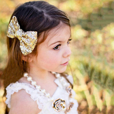 Kids Baby Girls Hair Clips Hairpin Sequin Bowknot Bow Glitter Hair Accessories