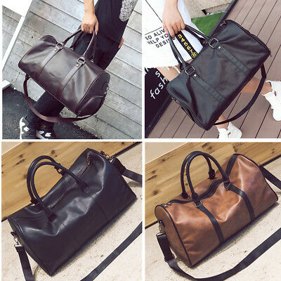 Men Women Large Leather Holdall Travel Gym Duffle Sports Cabin Bag Tote Handbag