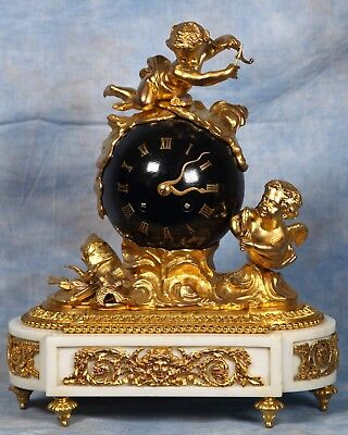 Superb French Rare White Marble Bronze Dore Ormolu Gilded Ball Clock 19th Cent