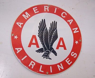 American Airlines Ande Rooney Red Porcelain Metal Sign NOS