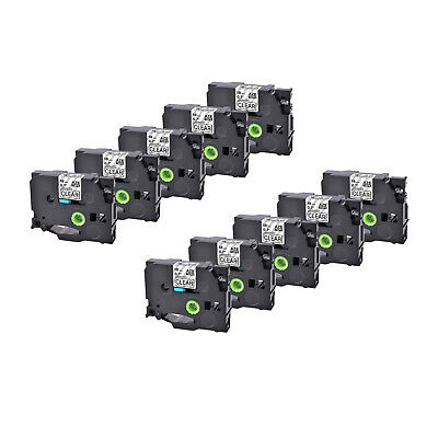 10PK TZ TZe 141 Black on Clear Label Tape For Brother P-Touch PT-18R 18mm 8m
