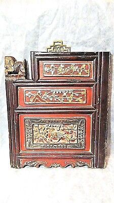 ANTIQUE18c CHINESE ELM WOOD CARVED TEMPLE GILT BOARD W/3 PANELS FLOWERS,FOO-LION