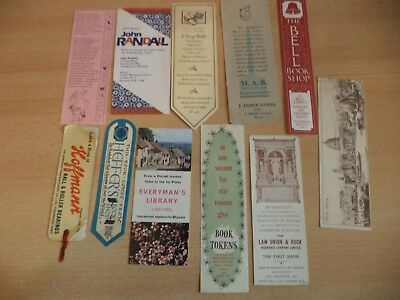 job lot b OLD VINTAGE ANTIQUE BOOKMARK BOOK MARKER ADVERTISING book shops etc