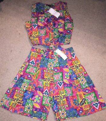 Vintage 90s PHOOL Bright Abstract 2pc Shorts &  Tank Top Set Large NOS Cotton