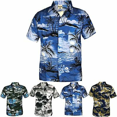 Mens Hawaiian Party Fancy Casual Fancy Beach Palm Tree Shirt Stag Party Shirt