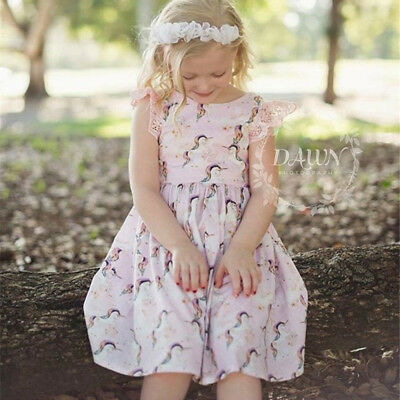 Toddler Kids Baby Girls Lovely Unicorn Party Pageant  Dress Sundress Outfit AU