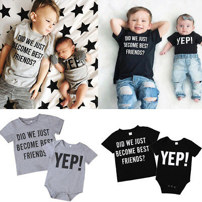 AU Little Big Brother Baby Boy Romper Bodysuit T-shirt Family Matching Outfits