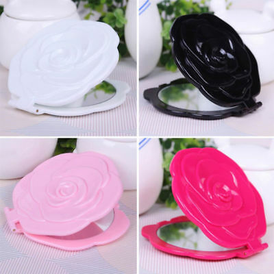Makeup Cosmetic Folding Portable Compact Pocket Mirror Vintage Rose Shape New #d