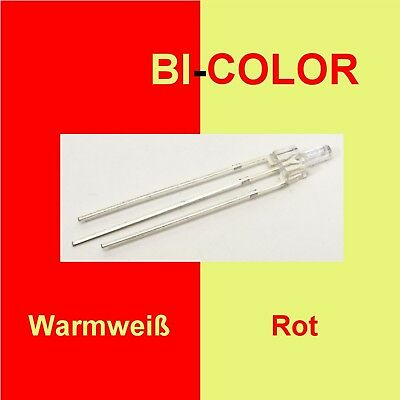 10 Stück Tower LED 2mm DUO Bi Color Rot/Warmweiß klar 3-Pin Lichtwechsel C3290