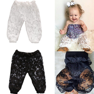 AU Baby Girls Harem Pants LaceTrousers Toddler PP Leggings Sweatpants Summer