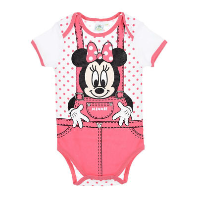 DISNEY BABY body MINNIE 3 6 9 12 18 ou 24 mois rose salopette manches  courtes afd6d2c8f7b