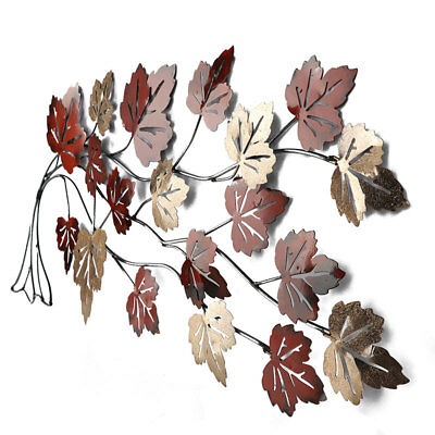 Maple Leaves Branch Metal Wall Art BIG 94cm | Autumn Colours Hanging Nature