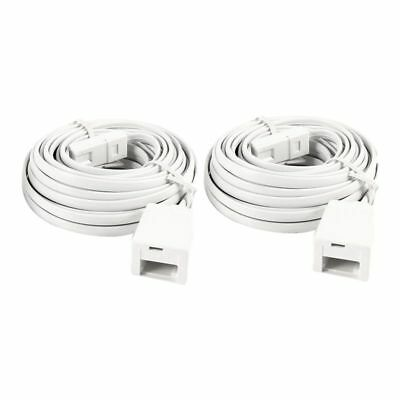 2X(2 Pcs White UK BT 6P4C Male to Female Modular Phone Extension Cord 6M I2K3)