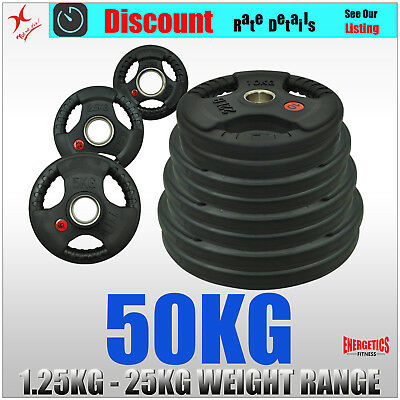 Total 50kg Olympic Rubber Coated Weight Plate Set - Choose or Make Your Own Set