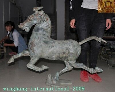 """39""""Huge Rare antique Old Chinese pure Bronze Ware Horse Tread fly Swallow statue"""