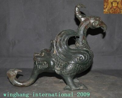 Rare antique Chinese dynasty Bronze Ware ancient Text Phoenix bird beast statue