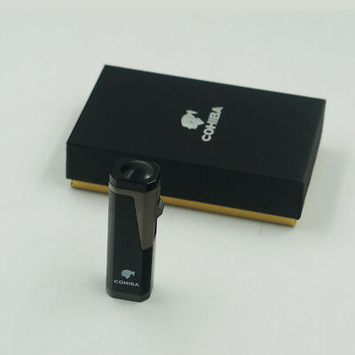 New COHIBA Black  Metal 3 Torch Jet Flame Cigar Cigarette Lighter With Punch