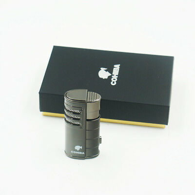 NEW COHIBA Metal 3 Torch Jet Flame Cigar Cigarette Lighter With Punch Black