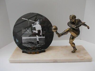 French Art Deco Bronzed Spelter Marble Picture Photo Frame Footballer