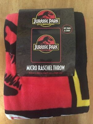 Jurassic Park 25Th Anniversary Raschel Throw Blanket Great For Lost World Fans!