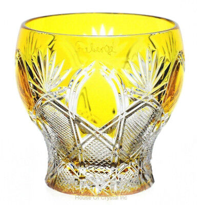 Faberge Czar Yellow Gold Cut to Clear Cased Crystal Votive Candle Holder Signed