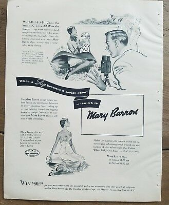 1950 women's Mary Barron lingerie when slip become social air fashion ad