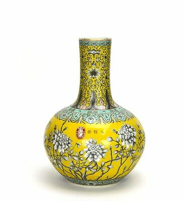 Fine Chinese Yellow Glazed Ground Black Ink Floral Porcelain Vase with Seal Mark