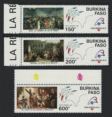Burkina Faso Bicentenary of French Revolution Paintings 3v SG#970-972