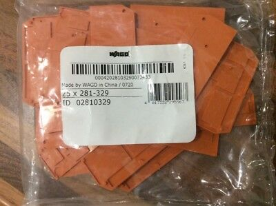 Wago end plate, cover, 281-329, orange, pack of 25, new