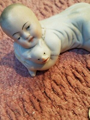 Antique Bisque Porcelain Piano Baby Boy with Cat Figure