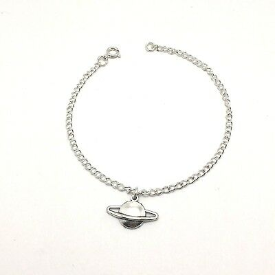 a5faf9abe Saturn Planet Science Charm Anklet Sterling Silver Plated Chain Women's  Jewelry