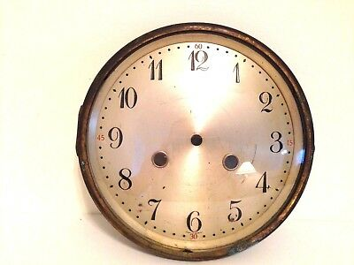 Vintage Junghans Silvered Metal Mantel Clock Face W/ Bezel and Glass