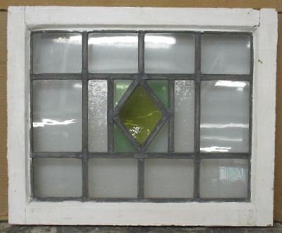 "MID SIZED OLD ENGLISH LEADED STAINED GLASS WINDOW Geometric Diamond 23"" x 18.75"""