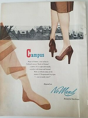 1951 women's NO MEND Tampa stockings Hosiery legs vintage fashion ad