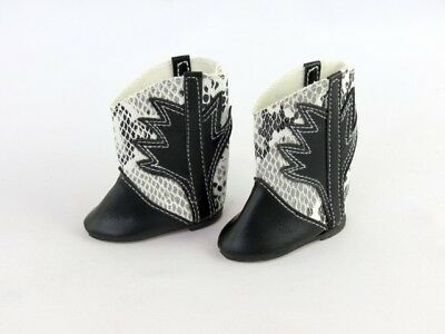 "BLACK w// Chains Cowgirl BOOTS DOLL SHOES fits American Girl 14.5/"" WELLIE WISHERS"