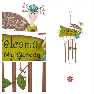 """Glitzhome Iron Angel Flying Fairy """"Welcome To My Garden"""" Patio Wind Chime Bells"""