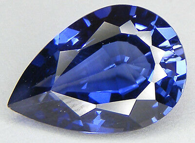 PRIX 30% REDUCTION / 10,87CT. T. POIRE 17,3x12 MM. SAPHIR BLEU DE SYNTHESE