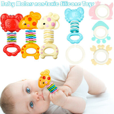 Safety Baby Rattles Teether RingBars Biting Bells Silicone Teething Appease Toys