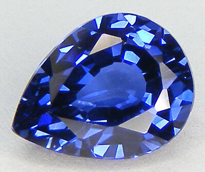 4,28CT. EXCELLENT SAPHIR BLEU CORINDON DE SYNTHESE T. POIRE 11,5x8,8 MM.